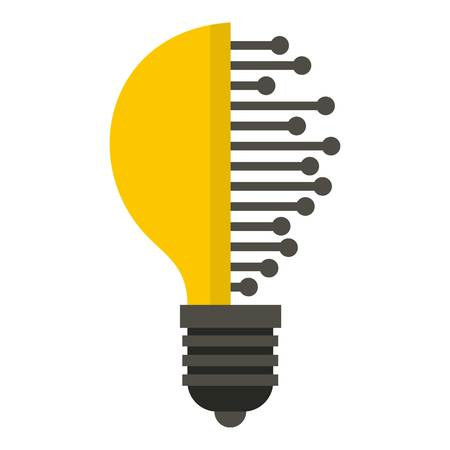 microcircuit: Lightbulb with microcircuit icon flat isolated on white background vector illustration Illustration