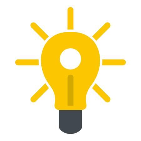 Yellow glowing light bulb icon flat isolated on white background vector illustration Illustration