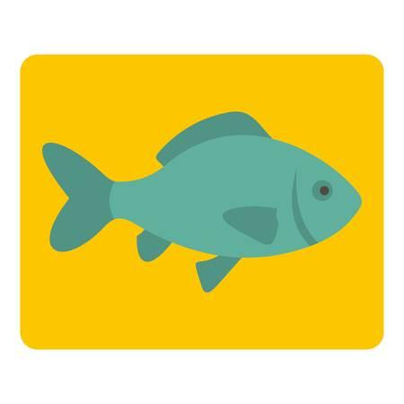 Fresh raw fish icon flat isolated on white background vector illustration