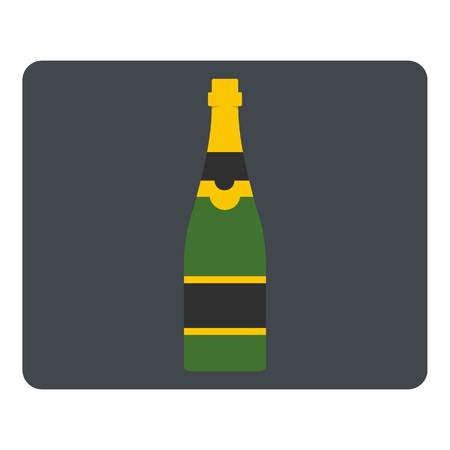 Champagne bottle icon flat isolated on white background vector illustration Illustration