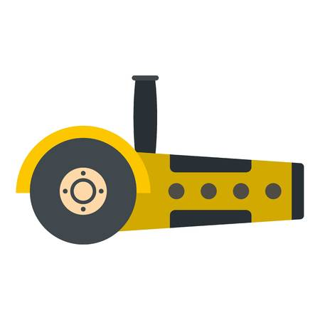 saw blade: Yellow circular saw icon flat isolated on white background vector illustration