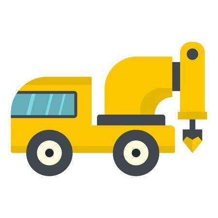 Yellow drilling machine icon flat isolated on white background vector illustration