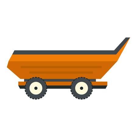 cushy: Orange car trailer icon flat isolated on white background vector illustration