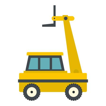 Yellow cherry picker icon flat isolated on white background vector illustration