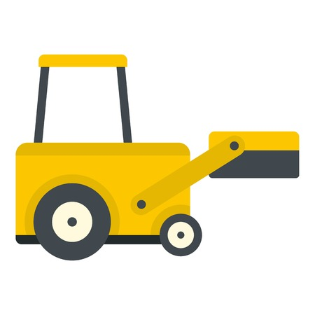 depot: Yellow truck to lift cargo icon flat isolated on white background vector illustration Illustration