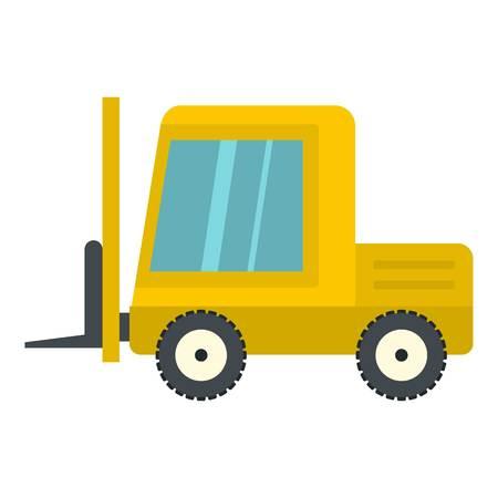 stockpile: Yellow stacker loader icon flat isolated on white background vector illustration