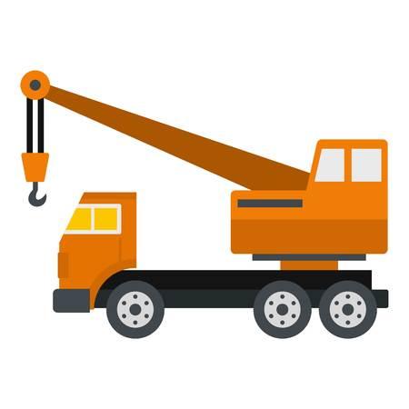 lifter: Orange truck crane icon flat isolated on white background vector illustration