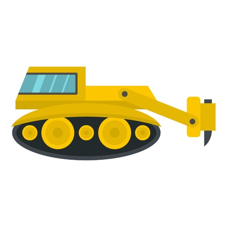 Excavator with hydraulic hammer icon isolated Illustration