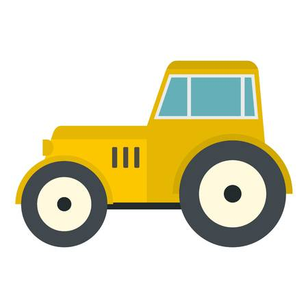 Yellow tractor icon isolated Illustration
