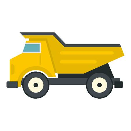 Yellow dump truck icon isolated