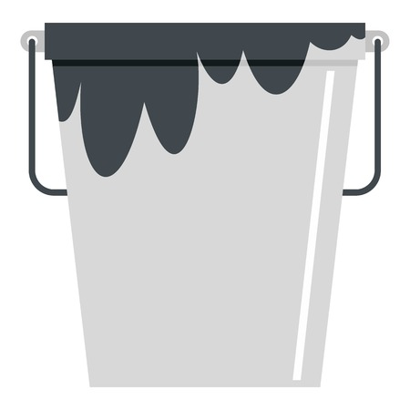 Bitumen emulsion in grey bucket icon isolated