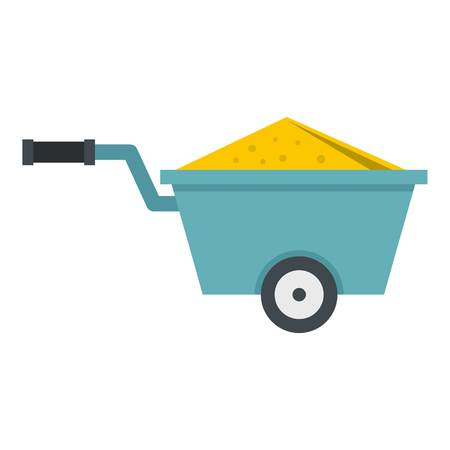 Wheelbarrow full of sand icon flat isolated on white background vector illustration Illustration