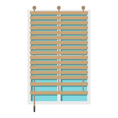 Window with wooden jalousie icon isolated