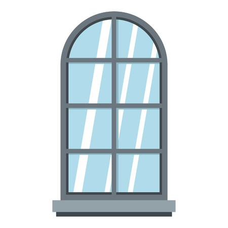 casement: Gray arched window icon flat isolated on white background vector illustration