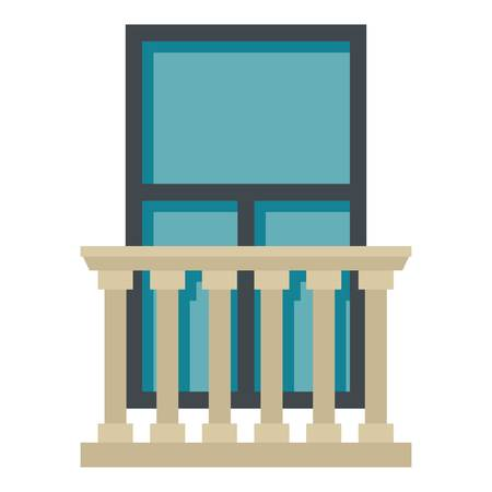 Classic balcony balustrade with window icon flat isolated on white background vector illustration Stock Illustratie