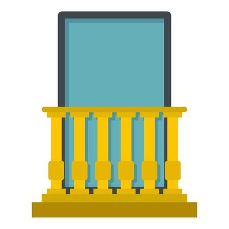 Classic yellow balcony balustrade with window icon flat isolated on white background vector illustration Stock Illustratie