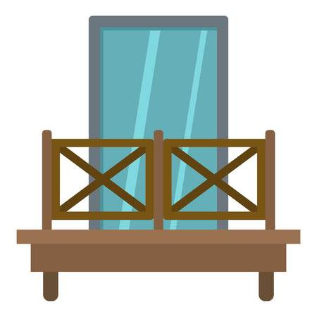 Balcony with wooden fence icon flat isolated on white background vector illustration Stock Illustratie