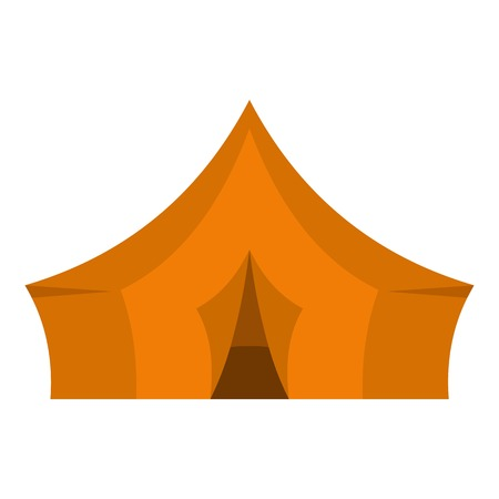 nylon: Orange tent for forest camping icon flat isolated on white background vector illustration