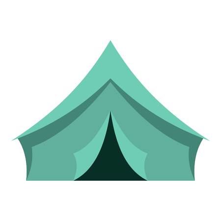 Turquoise tent icon flat isolated on white background vector illustration