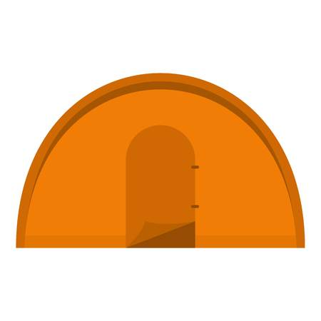 Orange tourist tent icon flat isolated on white background vector illustration Illustration