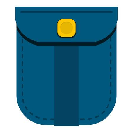 Blue shirt pocket with yellow button icon isolated Illustration