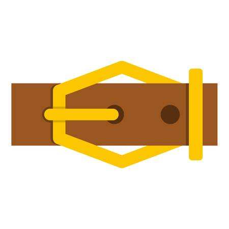 waistband: Brown leather belt icon isolated Illustration