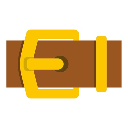 Yellow metal belt buckle icon flat isolated on white background vector illustration