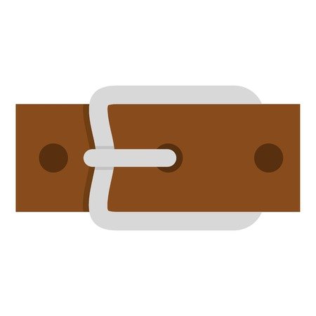 waistband: Leather belt with silver buckle icon flat isolated on white background vector illustration Illustration