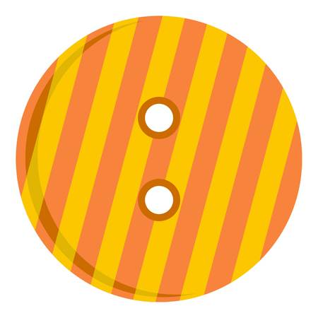 Striped orange and yellow clothing button icon flat isolated on white background vector illustration Illustration