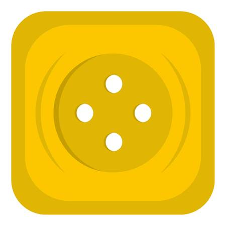 Yellow square sewing button icon flat isolated on white background vector illustration