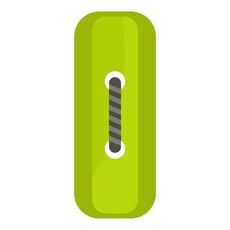 Green rectangle sewing button icon flat isolated on white background vector illustration