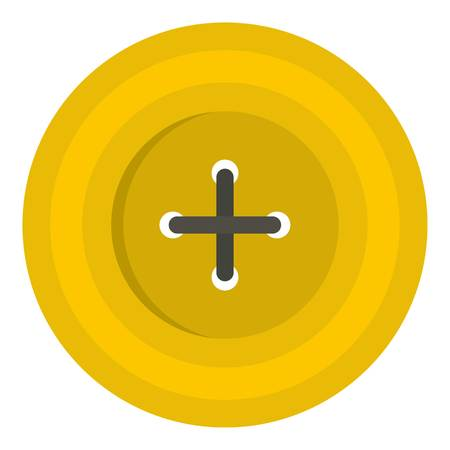 Yellow round sewing button icon flat isolated on white background vector illustration
