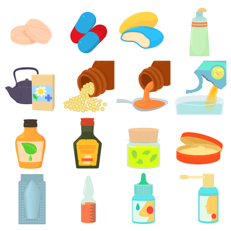 Drug types icons set. Cartoon illustration of 16 drug types vector icons for web