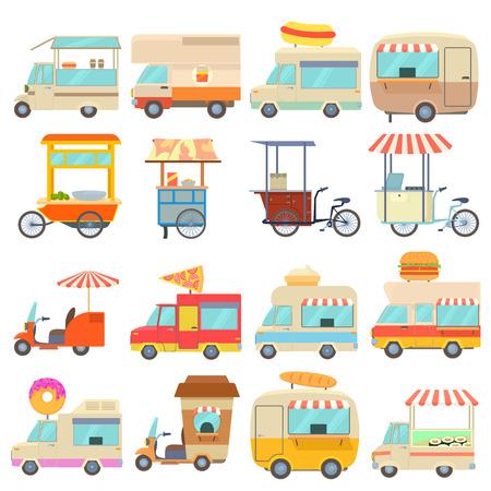 Street food vehicles icons set. Cartoon illustration of 16 street food vehicles vector icons for web Illustration