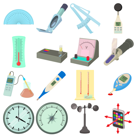 ammeter: Measure tools icons set. Cartoon illustration of 16 measure tools vector icons for web