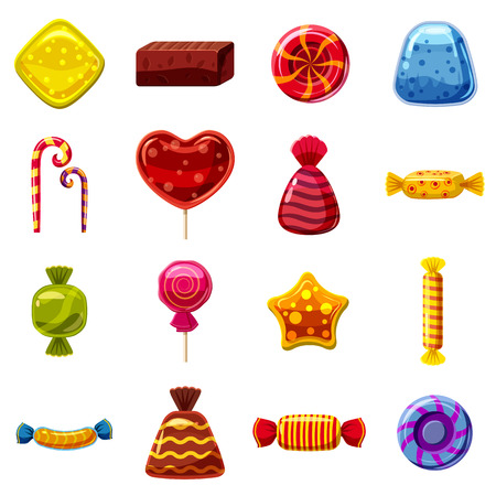 Sweets cakes icons set. Cartoon illustration of 16 sweets and cakes vector icons for web Illustration