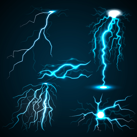 dazzle: Lightning set. Realistic illustration of 5 lightnings for web