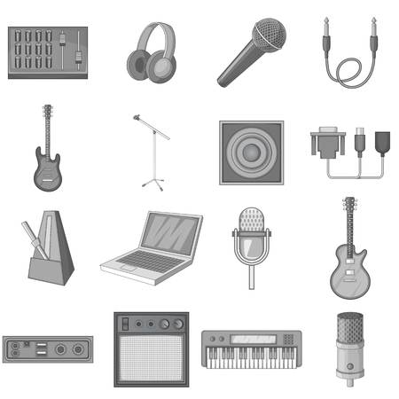 Recording studio icons set monochrome