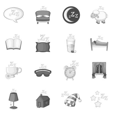 sleeper: Sleep symbols icons set monochrome