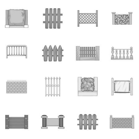 iron: Fencing modules icons set monochrome