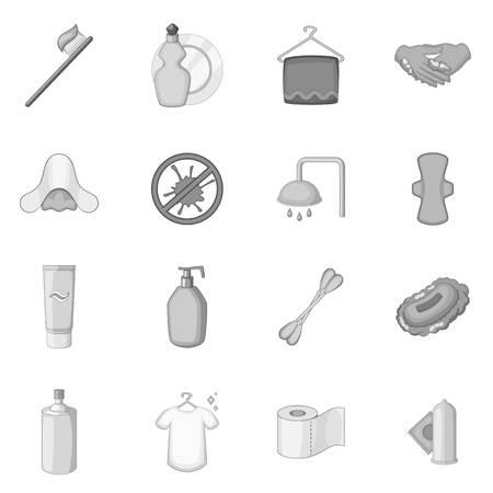 condoms: Hygiene icons set monochrome
