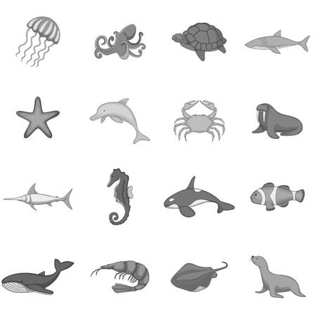 inhabitants: Ocean inhabitants icons set monochrome