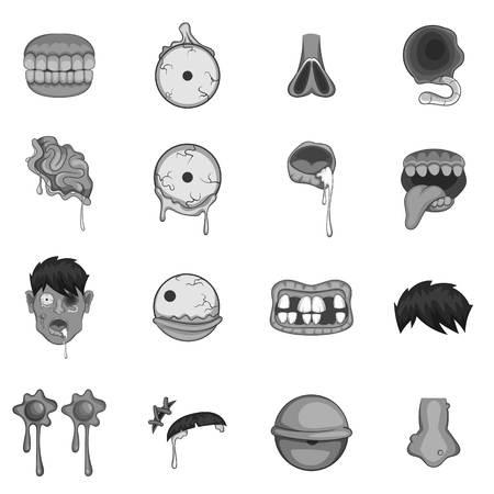 brain illustration: Zombie parts icons set monochrome Illustration