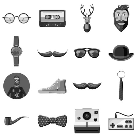old items: Hipster items icons set monochrome