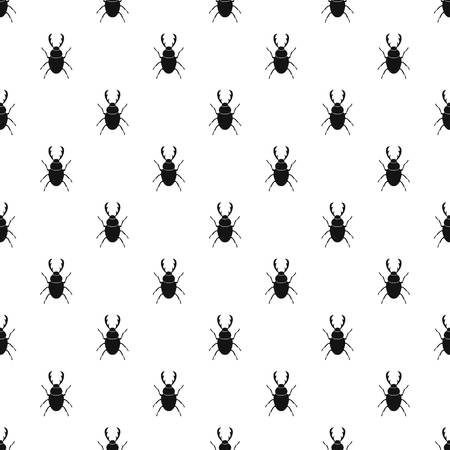 stag beetle: Stag beetle pattern seamless in simple style vector illustration Illustration