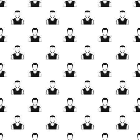 man profile: Man avatar pattern seamless in simple style vector illustration Illustration