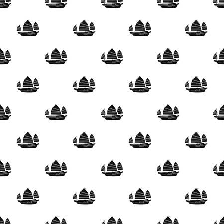 Junk boat pattern seamless in simple style vector illustration Illustration