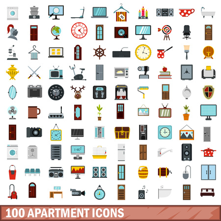 scale icon: 100 apartment icons set in flat style for any design vector illustration Illustration