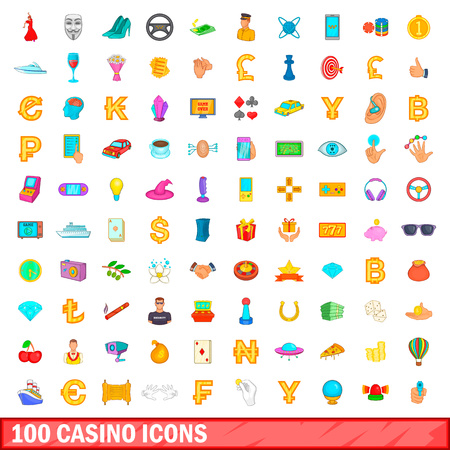100 casino icons set in cartoon style for any design vector illustration