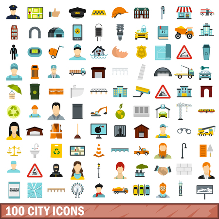 100 city icons set in flat style for any design vector illustration Illustration